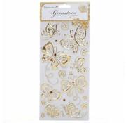 Embellishments / Verzierungen Schmuckstein Sticker, Schmetterlinge, Gold