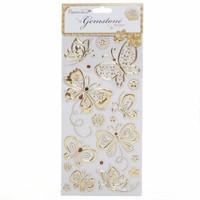 Gem Stickers, butterflies, gold
