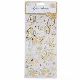 Embellishments / Verzierungen Gem Stickers, sommerfugle, guld