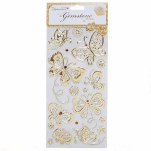 Embellishments / Verzierungen Gem Stickers, butterflies, gold