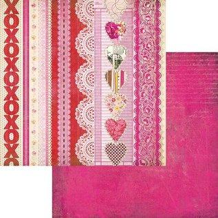 Designer Papier Scrapbooking: 30,5 x 30,5 cm Papier Kissing Booth, Xoxo, Kis-3566, 30.5 x 30.5 cm