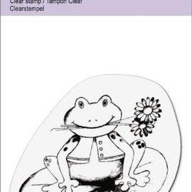 "Cart-Us Clear stempels, ""Kikker met bloem"""