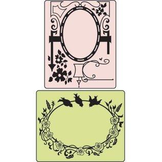 Sizzix Embossing map, Bird & Garden Gate, 2 mappen, 11,43x14,61cm