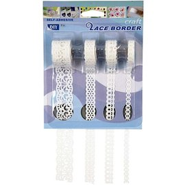 DEKOBAND / RIBBONS / RUBANS ... Bordure de papier autocollant, 8-23 mm, blanche, jeu de 4 motifs, 4x2 m