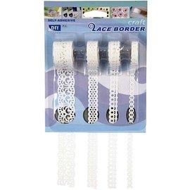 DEKOBAND / RIBBONS / RUBANS ... Selbstklebende Papierborte,  8-23 mm, weiß, Set mit 4 Mustern, 4x2 m