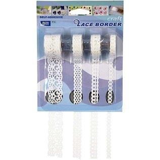 DEKOBAND / RIBBONS / RUBANS ... Selvklæbende papirgrænse, 8-23 mm, hvid, sæt med 4 mønstre, 4x2 m.