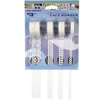 DEKOBAND / RIBBONS / RUBANS ... Selvklæbende papirgrænse, 8-23 mm, hvid, sæt med 4 mønstre, 4x2 m