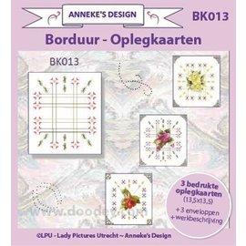 KARTEN und Zubehör / Cards 3 trykte kort + 3 konvolutter 13,5 x 13,5 cm