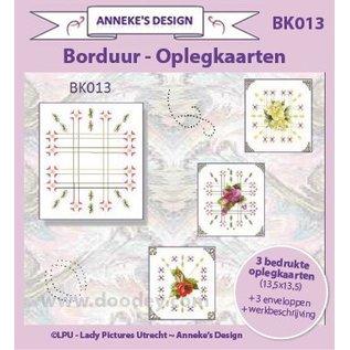 KARTEN und Zubehör / Cards 3 gedrukte kaarten + 3 enveloppen 13,5 x 13,5 cm