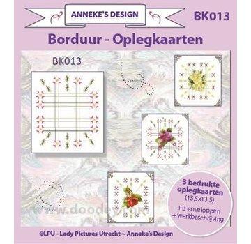 KARTEN und Zubehör / Cards 3 bedruckte Karten + 3 Umschlägen 13,5 x 13,5 cm