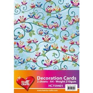 Karten und Scrapbooking Papier, Papier blöcke 2 Blatt, Designer papier Eule A4 210gr