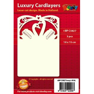 KARTEN und Zubehör / Cards Luxe 3-kaart indeling A6, 10.5 x 14.85 cm, bruiloft - zwaanmotief