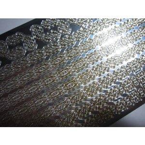 Sticker Stickers, grenzen, gold-spiegelfolie zilver, 10x23cm.