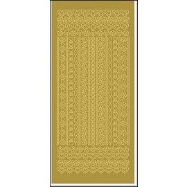 STICKER / AUTOCOLLANT Adesivi, bordi, fiori e cuori, oro-oro.