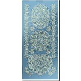 STICKER / AUTOCOLLANT Adesivi, ovale pizzo 3D 2, foglia d'oro specchio blu, dimensioni 10x23cm