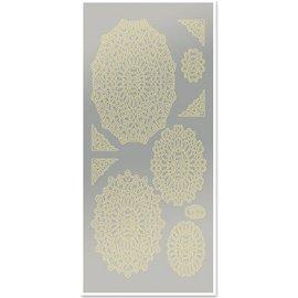 STICKER / AUTOCOLLANT Sticker, Spitzendecken, Fächer, gold-Spiegelfolie silber, Format 10x23cm - Copy