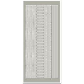 STICKER / AUTOCOLLANT Klistermærker, margener smalle, sølvgrå, størrelse 10x23cm