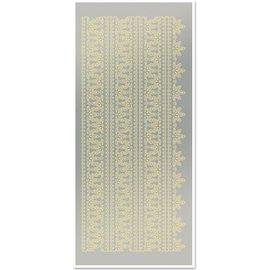STICKER / AUTOCOLLANT Sticker, Spitzenränder 1, groß, gold-Spiegelfolie silber, Format 10x23cm.