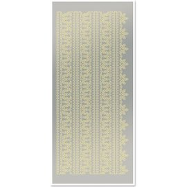 Sticker Sticker, Spitzenränder 1, groß, gold-Spiegelfolie silber, Format 10x23cm.