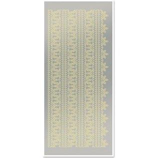 STICKER / AUTOCOLLANT Stickers, bovenranden 1, grote, bladgoud, zilveren spiegel, afmeting 10x23cm.