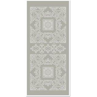 STICKER / AUTOCOLLANT Stickers, Grote hoek 1, zilver-grijs, maat 10x23cm
