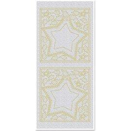 Sticker Sticker, Große Sternenfenster, perlmutt, gold-perlmutt silber, Format 10x23cm