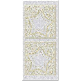 STICKER / AUTOCOLLANT Stickers, Big Star ramen, parel, goud, zilver parel, grootte 10x23cm