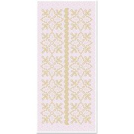 STICKER / AUTOCOLLANT Glittersticker florale Ornamente 1, gold-glitter weiß, Format 10x23cm