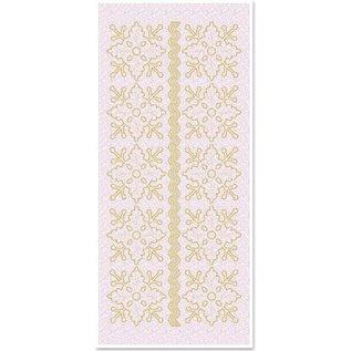 STICKER / AUTOCOLLANT Glitter Stickers bloemenornamenten 1, gold-glitter wit, formaat 10x23cm