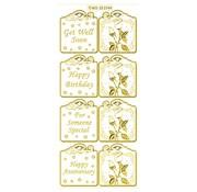 Sticker Set sind 6 verschiedenen sticker Motive in gold, 10x23cm.