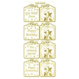STICKER / AUTOCOLLANT Il set include 6 differenti disegni adesivi in oro, 10x23cm.
