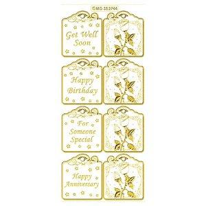 Sticker Set bestaat uit 6 verschillende sticker ontwerpen in goud, 10x23cm.
