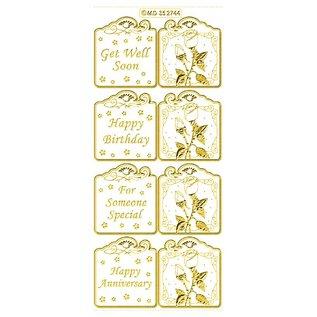 STICKER / AUTOCOLLANT Set bestaat uit 6 verschillende sticker ontwerpen in goud, 10x23cm.
