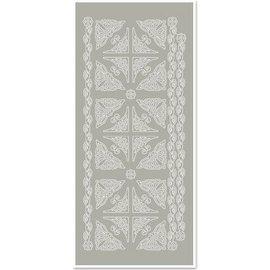 STICKER / AUTOCOLLANT Stickers, hoeken en randen, zilver-grijs, maat 10x23cm