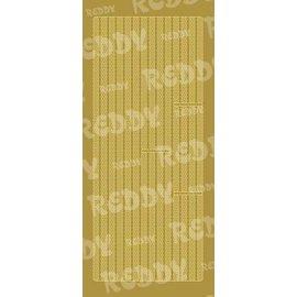 STICKER / AUTOCOLLANT Sticker, Ränder, kleine Kreise, gold-gold, Format 10x23cm