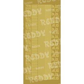 STICKER / AUTOCOLLANT Stickers, randen en hoeken, kleine, goud-goud, formaat 10x23cm