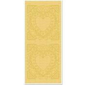 Sticker Adesivi, madre-di-struttura, a forma di cuore, oro perla e oro, dimensioni 10x23cm