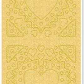 Sticker Pegatinas, la madre-de-frame, forma del corazón, perlas de oro y el oro, tamaño 10x23cm