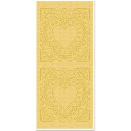 STICKER / AUTOCOLLANT Klistermærker, mor-of-frame, hjerte form, guld perle og guld, størrelse 10x23cm