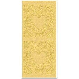 STICKER / AUTOCOLLANT Pegatinas, la madre-de-frame, forma del corazón, perlas de oro y el oro, tamaño 10x23cm