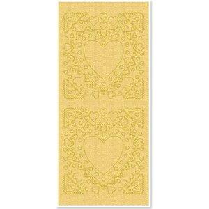 Sticker Stickers, moeder-of-frame, hartvorm, gouden parel en goud, maat 10x23cm