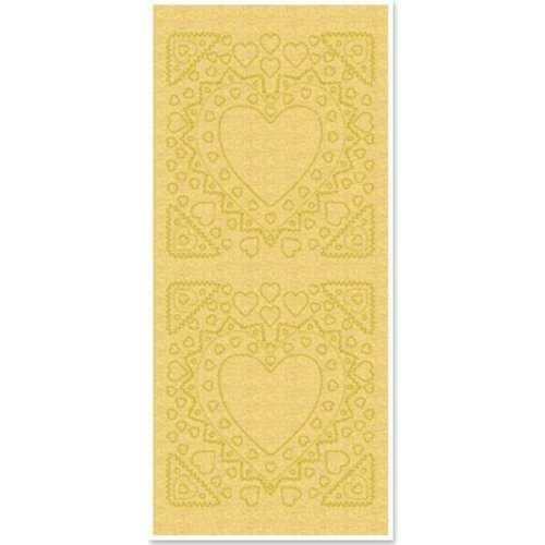 Sticker Stickers, mother-of-frame, heart shape, gold pearl and gold, size 10x23cm