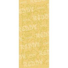 STICKER / AUTOCOLLANT Stickers, & Chicks Pasen bell, gouden parel en goud, maat 10x23cm