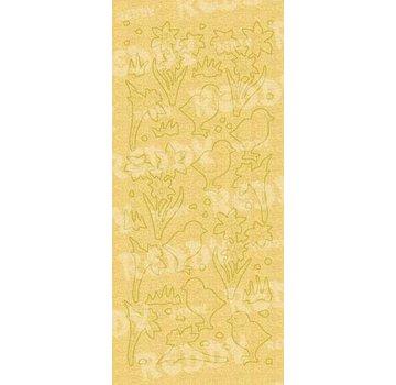 Sticker Adesivi, e pulcini di Pasqua campana, oro perla e oro, dimensioni 10x23cm