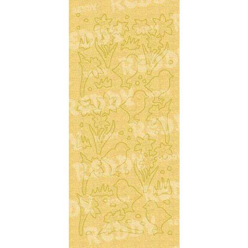 Sticker Autocollants, et poussins de Pâques cloche, perle d'or et d'or, taille 10x23cm