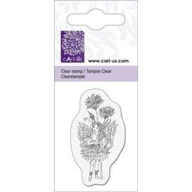 Cart-Us Clear stamps motief, kleine elf met Korenbloem, 5x6cm.