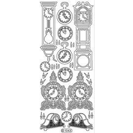 STICKER / AUTOCOLLANT Ziersticker, klok, goud, 10x23cm