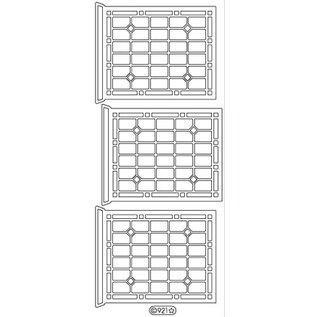STICKER / AUTOCOLLANT Decoratieve sticker, raam, overzicht, goud 10x23cm