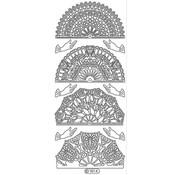 Sticker Ziersticker, Fan weiss, Outline, 10x23cm