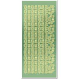 STICKER / AUTOCOLLANT Pegatinas, bordes de encaje y las esquinas, de lámina de oro espejo verde, formato 10x23cm